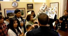 police called to arrest child immigration reform activists singing outside office of congressman eric cantor (video)